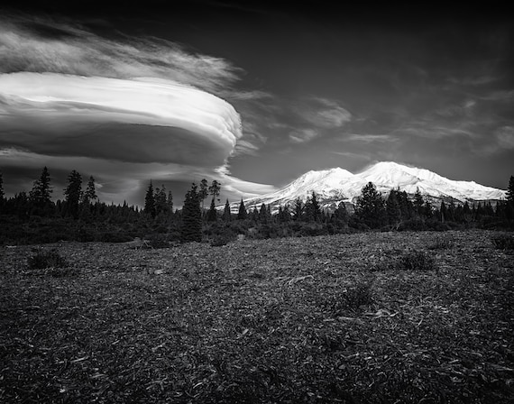 Lenticular Madness (Prints) Mount Shasta with a Lenticular Cloud in black and white