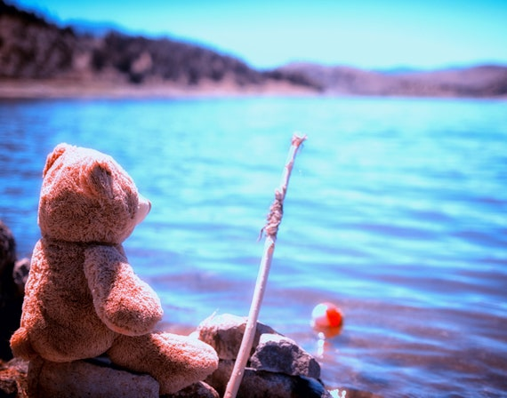 Have you ever seen a bear fishing (prints) a teddy bear fishing with his pole and bobber
