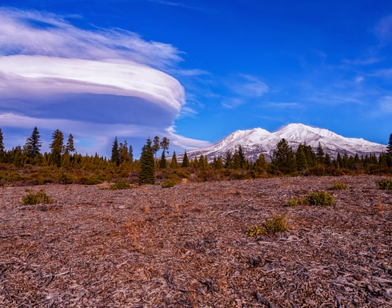 Lenticular Love (Prints) Mount Shasta with a Lenticular Cloud