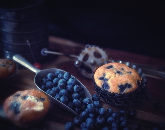 Old Time Goodies  (CANVAS) Dark food photography of blueberry muffins and vintage kitchenware