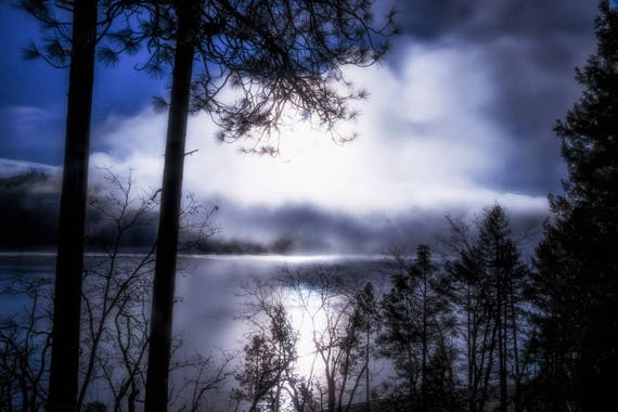 Cold Morning (Metal Panel) long exposure photograph of Trinity Lake Northern California
