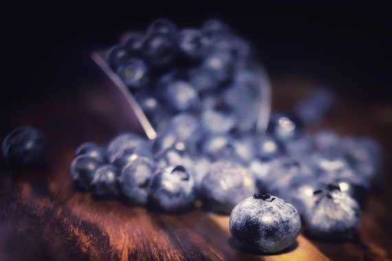 Blueberry Spill (Metal Panel) Dark food photograpy of Blueberries Spilled on a wooden table