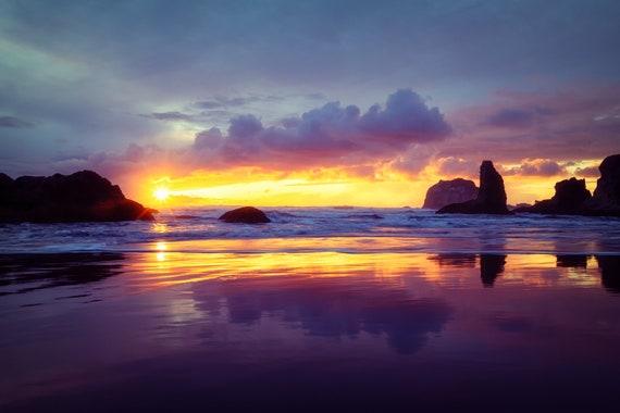 Sweet Dreams (Metal Panel) Long exposure beach photograph Bandon Oregon sunset