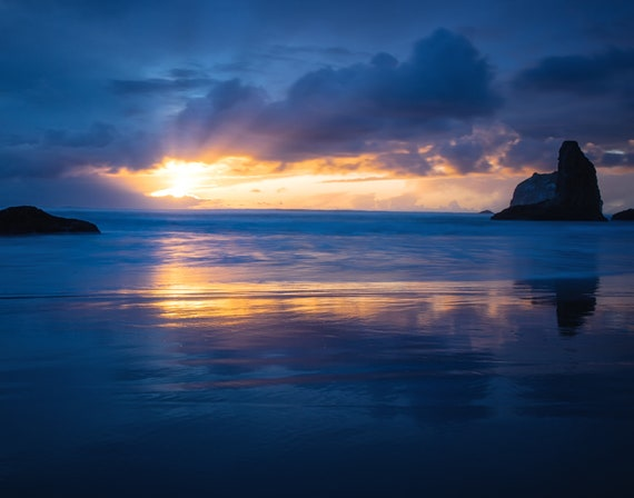 Good Night (Prints)  long exposure beach photograph Bandon Oregon at sunset
