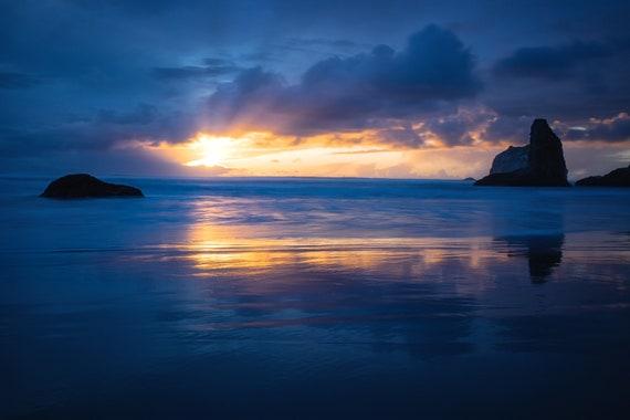 Good Night (Metal Panel) Long exposure beach photograph Bandon Oregon sunset