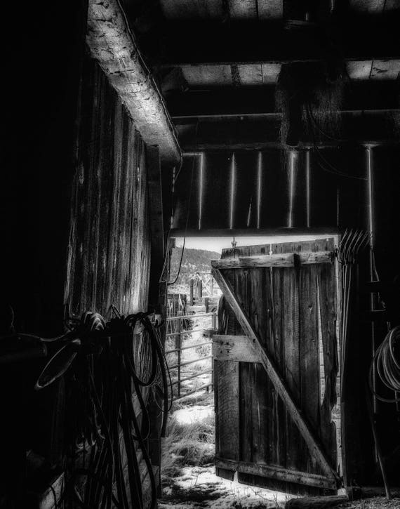 Did You Grow Up in a Barn (Prints) black and white photograph of open barn door