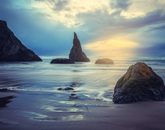 Let There Be Light (Prints)  long exposure beach photograph Bandon Oregon
