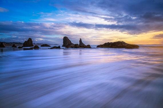 Fluid (Metal Panel) Long exposure beach photograph Bandon Oregon