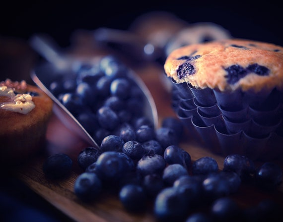 Muffin Mania (Prints) Dark food photography of blueberry muffins and vintage kitchenware