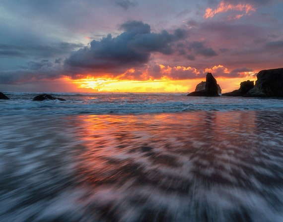 Spellbound (Prints)  long exposure beach photograph Bandon Oregon at sunset