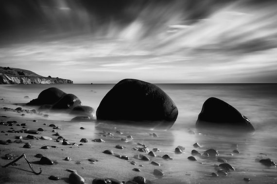Hidden Bowling Ball Beach (Metal Panel) Black and white long exposure