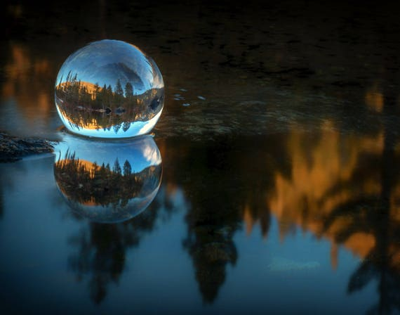 Refraction and Reflection Meet (prints) Castle Lake in a crystal ball Northern Califorina