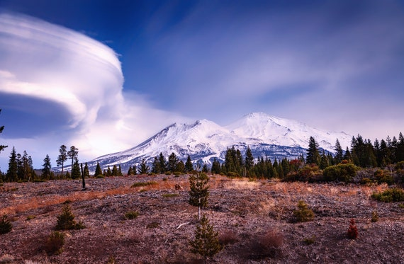 Lenticular Landing (Metal Panel) Mount Shasta and a Lenticular Cloud