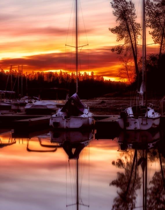 Whiskey Sunrise (prints) Sunrise at Oak Bottom Marina Whiskeytown Lake