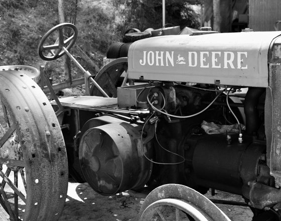 Black and White John Deere Tractor
