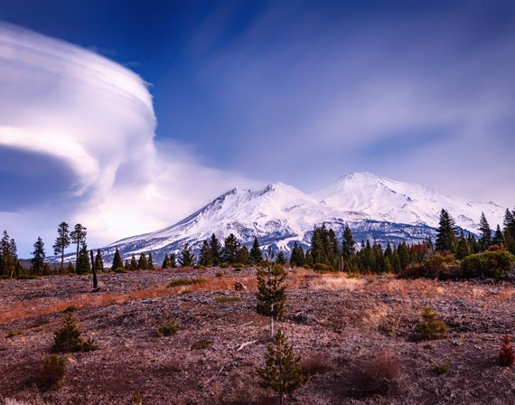 Lenticular Landing (Prints) Mount Shasta with a Lenticular Cloud