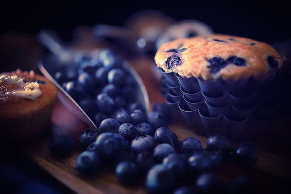 Muffin Mania  (CANVAS) Dark food photography of blueberry muffins and vintage kitchenware
