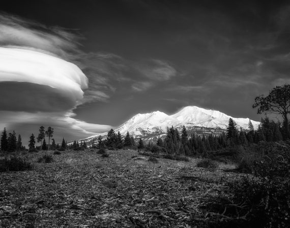 A Wonderful World We Live In (Prints) Mount Shasta with a Lenticular Cloud in black and white