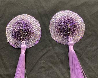 Gradient purple Swarovski crystal pasties with spinners