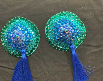 Gradient Swarovski crystal pasties with full spinners