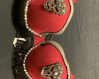 Skull rhinestone burlesque studded bra with fringe in red size 34D