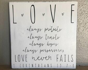 1st Corinthians 13 Love Wall Art Sign