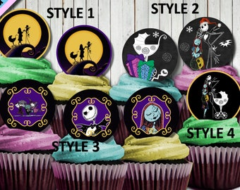 nightmare before christmas jack and sally baby shower cupcake toppers baby shower birthday party party supplies