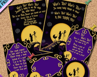Nightmare before christmas baby shower invitations etsy nightmare before christmas baby shower package jack sally little nightmare baby shower sprinkle digital download print email social media filmwisefo