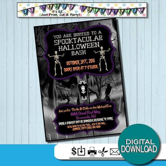 spooky halloween invitations halloween party digital download etsy