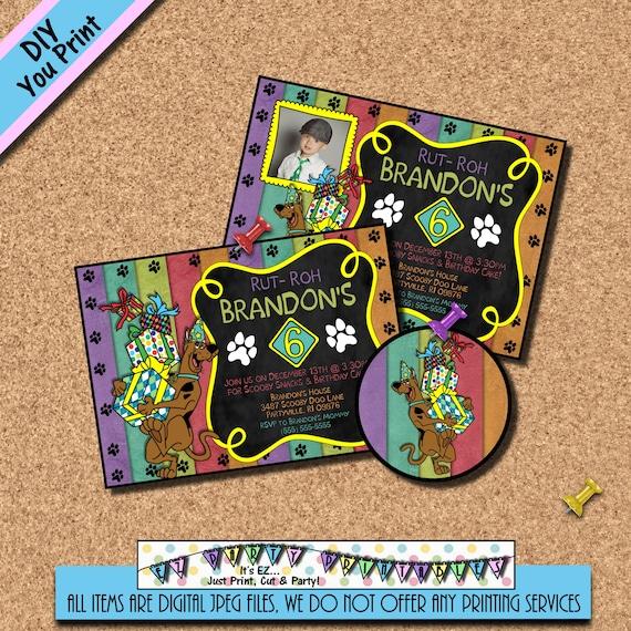 Scooby Doo Birthday Invitation Thank You Card Scooby Photo Etsy