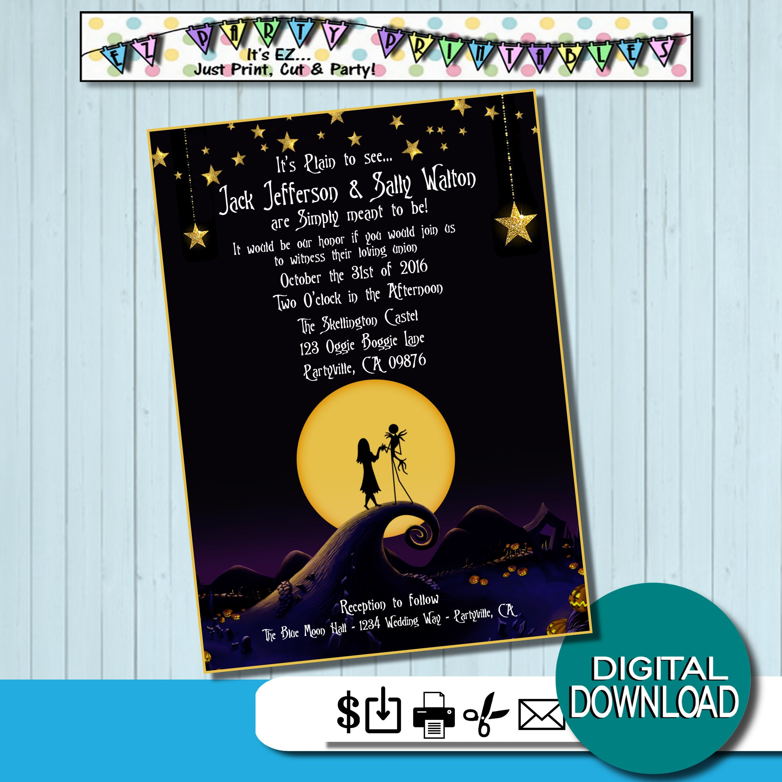 Nightmare before Christmas Wedding Invites Simply Meant to be | Etsy