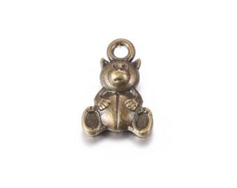 110478-1555 13x11MM Toy Bear Charm Antique Bronze Tone Zinc Alloy Metal Charm 10 Pcs Bulk Lot Options