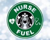 Job Profession Clipart Black Green quot Nurse Fuel quot Logo w Heart EKG Stethoscope Inspired by Starbucks Coffee - Digital Download jpg png svg