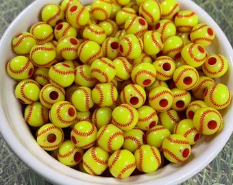 50pcs 2.5//4mm Hole Acrylic Baseball Basketball Spacer Beads DIY Bracelet Makings