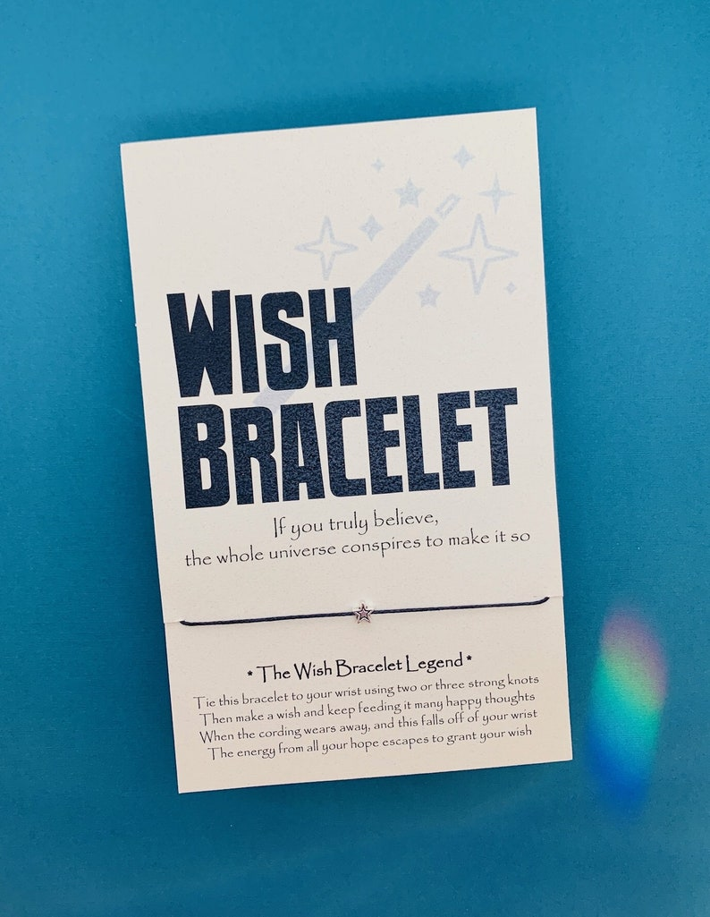 Wish Bracelet on Magician Card with Star Charm or Black Lava Stone  Aromatherapy Essential Oil Diffuser Bead - Many Colors - Free Shipping