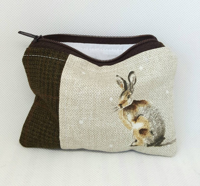 Handmade gifts gifts for her Coin purse money pouch Hare coin purse animal lovers gifts Tweed zip pouch