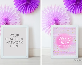 Download Free frame Wedding mockup, White Frame 10 x 8 Mockup, pastel Birthday party mockup, photo frame, feminine Wedding Styled Stock purple lilac PSD Template