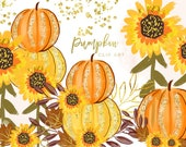 Pumpkin orange watercolor, Separate element, Autumn Fall DIY Clip Art, greeting card clip art, Pumpkins Sunflowers graphic pumpkin art print