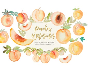 Greenery peaches watercolor clipart, summer peaches clipart, peach fruit, sweet as a peach clip art baby shower, bridal shower clip art DIY
