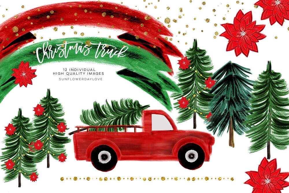 Aquarell Weihnachten Clipart ClipArt Weihnachten LKW | Etsy