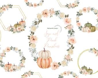 Frame Sage and Peach Pumpkins Modern clipart, Modern Watercolor Fall autumn White Cream & Green Pumpkin, Digital Gold Frame floral Leaves,
