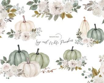 Modern Sage and White Arrangements Watercolor Pumpkins clipart, Digital Pumpkin Planner clipart, Fall Autumn Greenery floral Leaves clipart