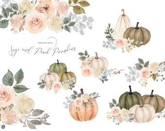 Sage and Peach Arrangements pumpkin clipart, Watercolor White Pumpkin, Digital Planner clipart, Fall Autumn Greenery floral Leaves clipart