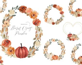 Gold Frame Fall Autumn Burnt Orange Pumpkins Watercolor clipart, Rustic Orange Pumpkin Peach Flowers, Greenery floral Digital Clipart