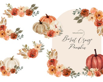 Arch Boho Fall Autumn Burnt Orange Pumpkins Watercolor clipart, Burnt Orange Pumpkin Boho Floral Leaves, Greenery Pumpkin Digital Clip art