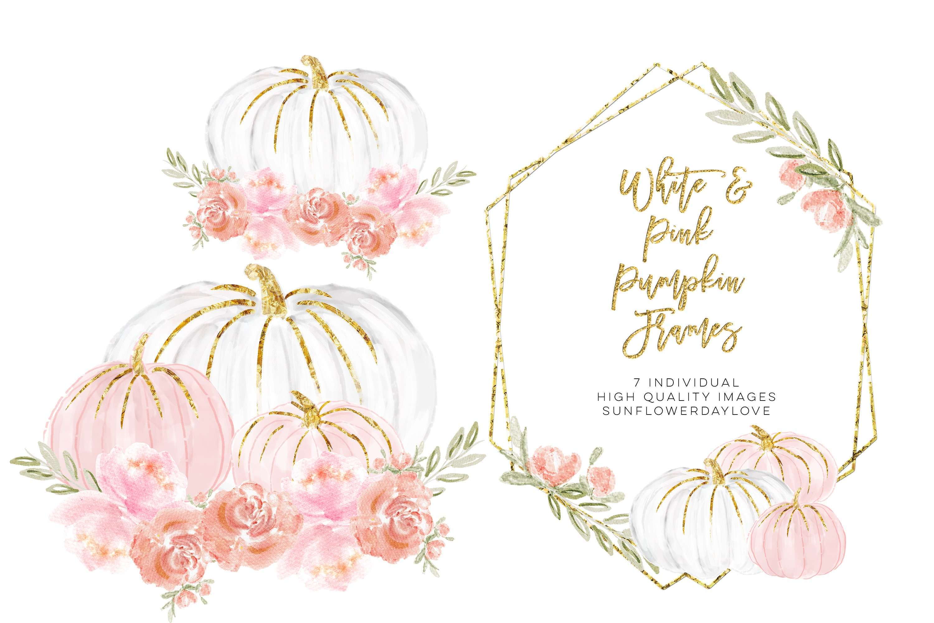 Watercolor Floral Frame Clipart Pumpkin Flower Borders And Etsy