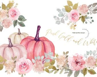 Modern Pink & Gold Glitter Flowers Pumpkin clipart, Elegant Pumpkin watercolor, Fall autumn Floral Leaves, Greenery Pumpkin Digital Clip art