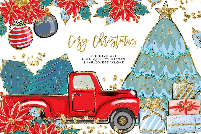 hand drawn clip art christmas red truck clip art christmas ornament clipart christmas illustration Cozy Christmas Illustration Clipart