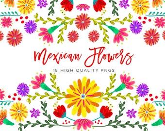 Mexican Watercolor Floral clipart, flowers fiesta clip art, cinco de mayo clip art, colorful mexican clip art Spanish Mexican Floral Clipart