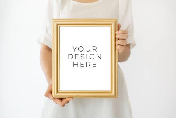 Gold Frame Mockup 8x10 frame mockup Girl Holding Poster | Etsy